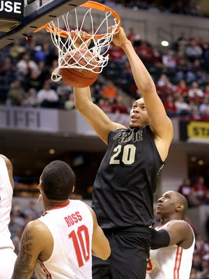 Purdue has twin 7-foot towers in A.J. Hammons (20) and Issac Haas. IU's lineup Wednesday night might not include anyone over 6-7.
