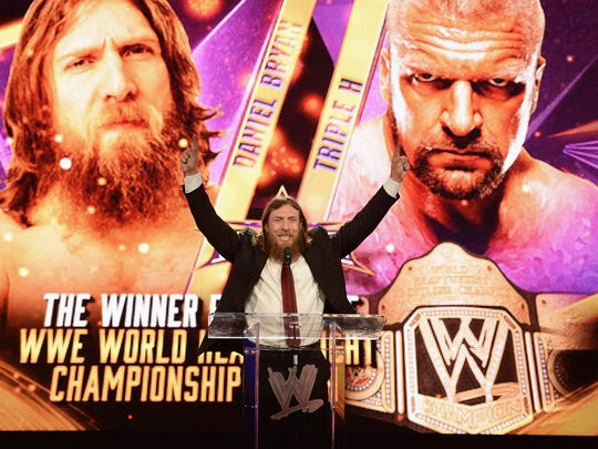 Daniel Bryan speaks at this 2014 WrestleMania XXX news conference at the Hard Rock Cafe in New York.