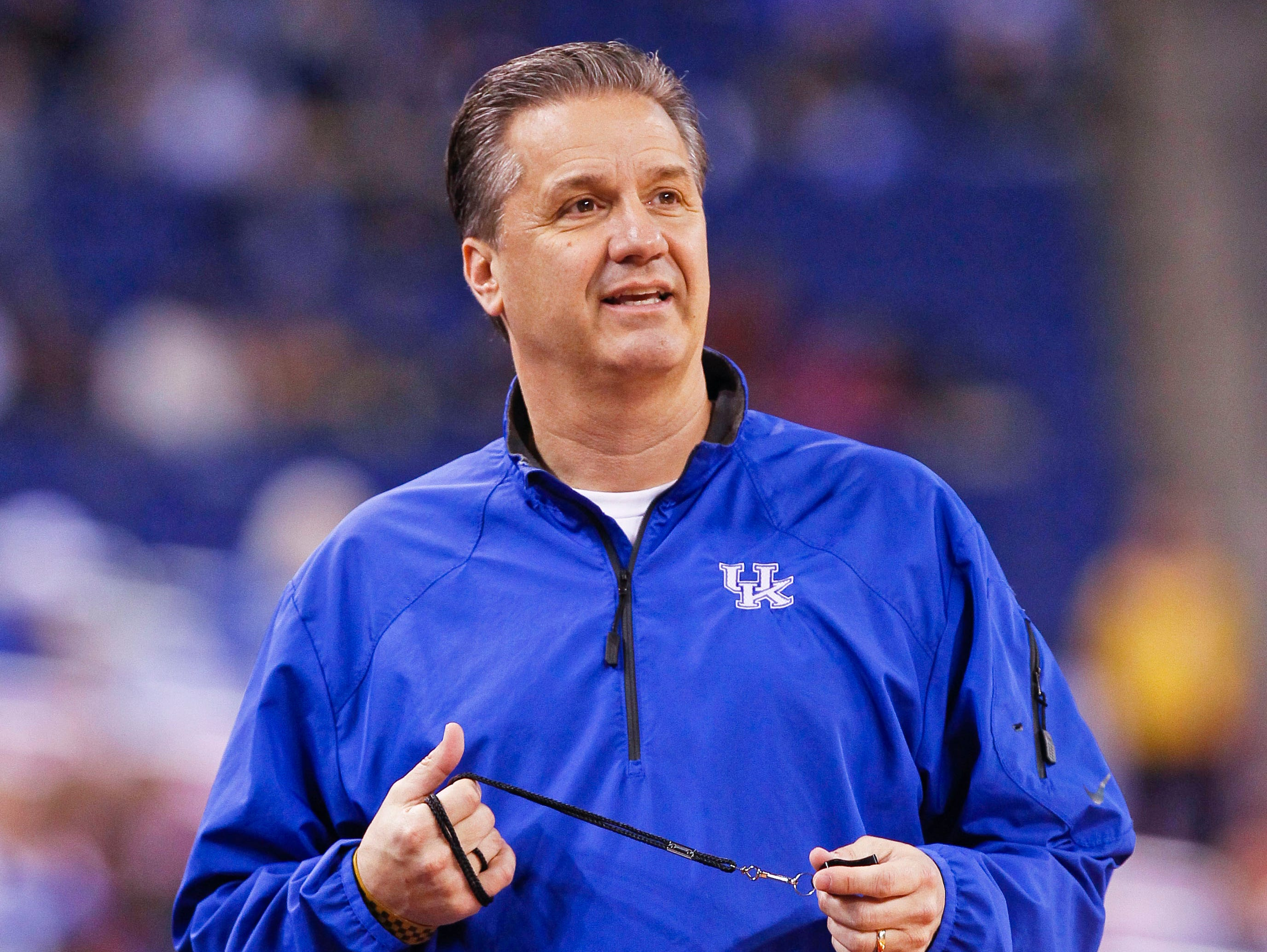 Kentucky head coach John Calipari watches his team practice for a Final Four game on April 3 in Indianapolis.