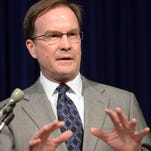 Attorney General Bill Schuette speaks Tuesday at a press conference regarding the 6-2 decision by the U.S. Supreme Court to uphold Article 1, Section 26 of the Michigan Constitution, otherwise known as the Michigan Civil Rights Initiative. Photo taken 4/22/2014.
