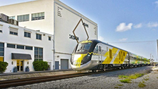This Brightline is traveling through Miami. An Arizona group hopes to lure private investors to offer one like it between Phoenix and Tucson.