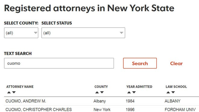 Database of attorneys in New York State.