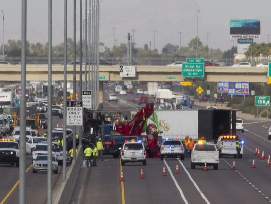 Semi truck freeway fire