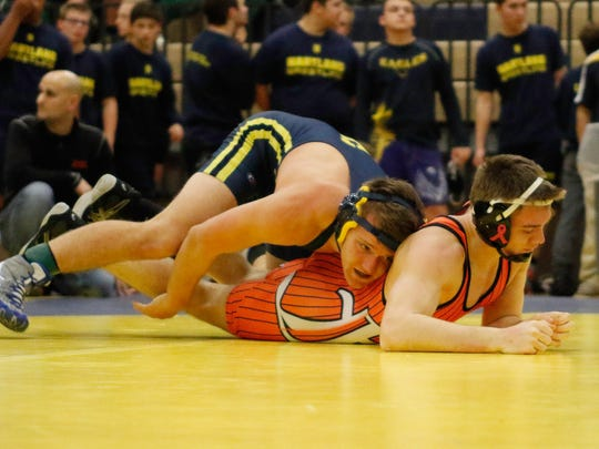 Hartland's Joey Livingston pinned Flushing's Eamon Gleason in 2:16 AT 160 pounds.