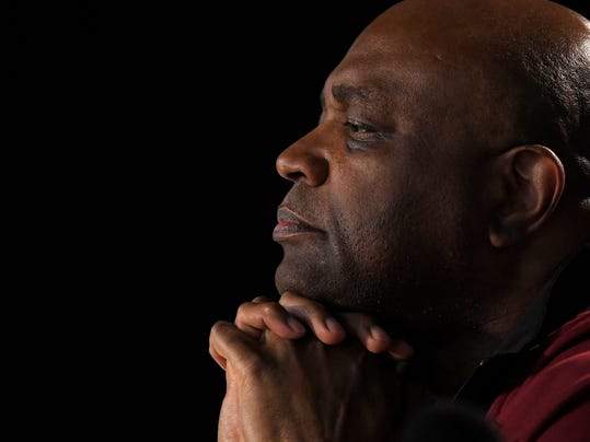 Florida State coach Leonard Hamilton speaks during a news conference at an NCAA men's college basketball tournament regional Friday, March 23, 2018, in Los Angeles. Florida State faces Michigan in a regional final Saturday. (AP Photo/Mark J. Terrill)