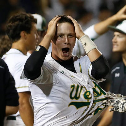 Iowa City West players react after designated hitter