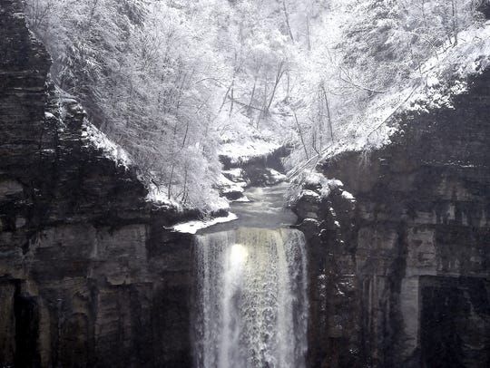 Taughannock Falls State Park. A late winter storm bringing