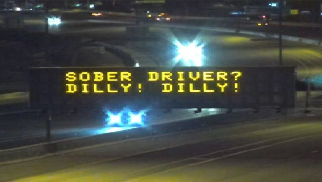 """The Arizona Department of Transportation reminded Thanksgiving travelers to drive sober with a """"Dilly! Dilly!"""" freeway message, shown on Nov. 22, 2017."""