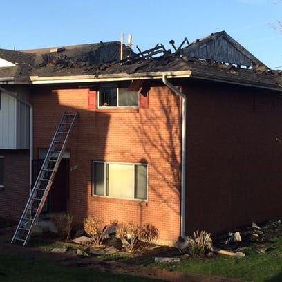 Four townhomes were damaged in a fire Sunday afternoon