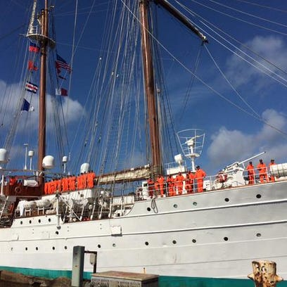 The Spanish tall ship Juan Sebastian de Elcano arrives