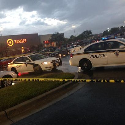 The scene of the shooting at the parking lot of the