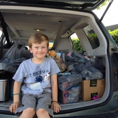 Finley Kerth dropped off several bags of food for the