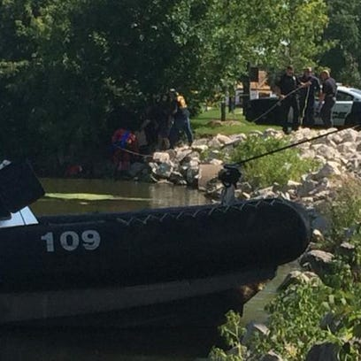 A Green Bay police boat was at the scene Saturday after