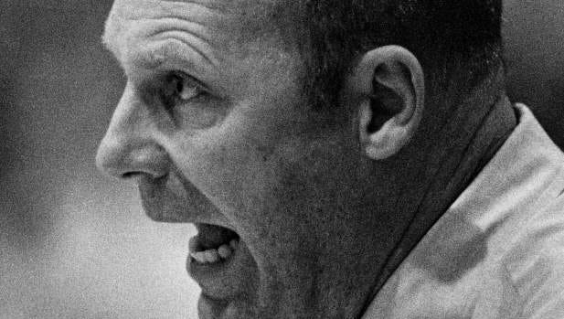 Lipscomb Coach Don Meyer yells out to his players during a game at home in 1988.