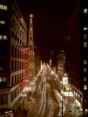 Christmas decorations light up Wisconsin Ave. in this photo, published in the Dec. 21, 1965, Milwaukee Sentinel.