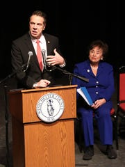New York Governor Andrew Cuomo, speaks during the inauguration for Westchester County Executive George Latimer,  at Westchester Community College in Valhalla, Jan. 7, 2018.