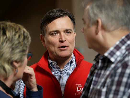Congressman Luke Messer talks with some of his supporters