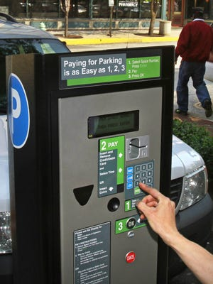 A parking meter pay box on Massachusetts Avenue.