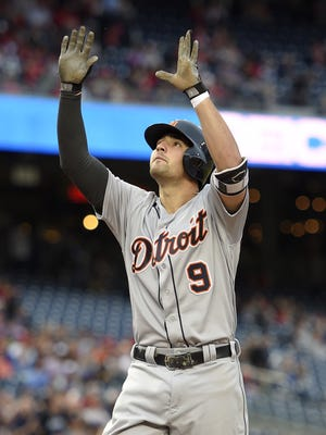 Detroit Tigers' Nick Castellanos (9) celebrates his two-run home run during the first inning.