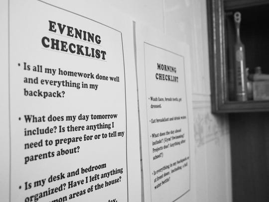 In this Sunday, Aug. 16, 2015 photo, these checklists,
