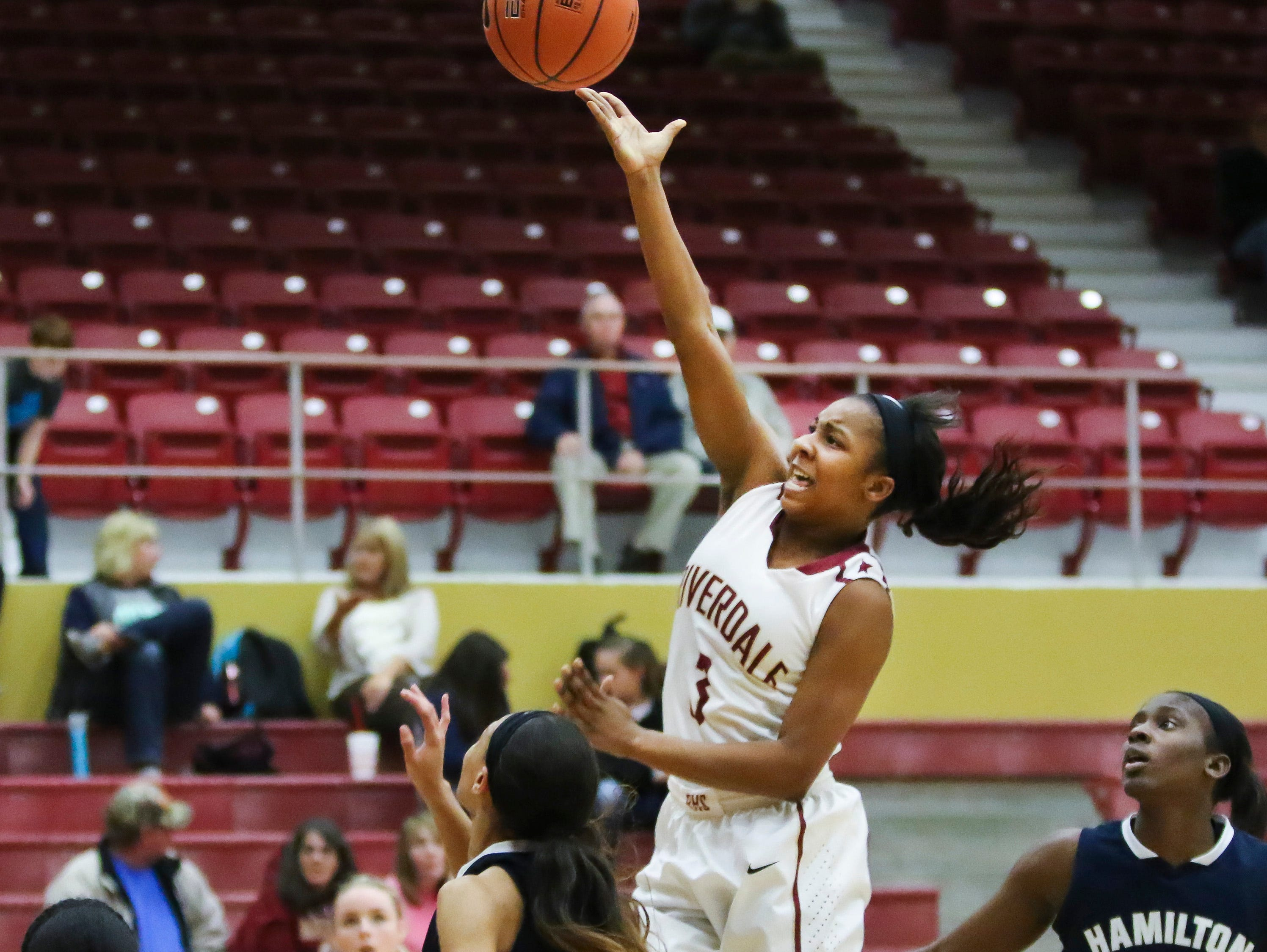 Riverdale's Anastasia Hayes goes up fro a shot during Tuesday's 60-54 win over Hamilton Heights.