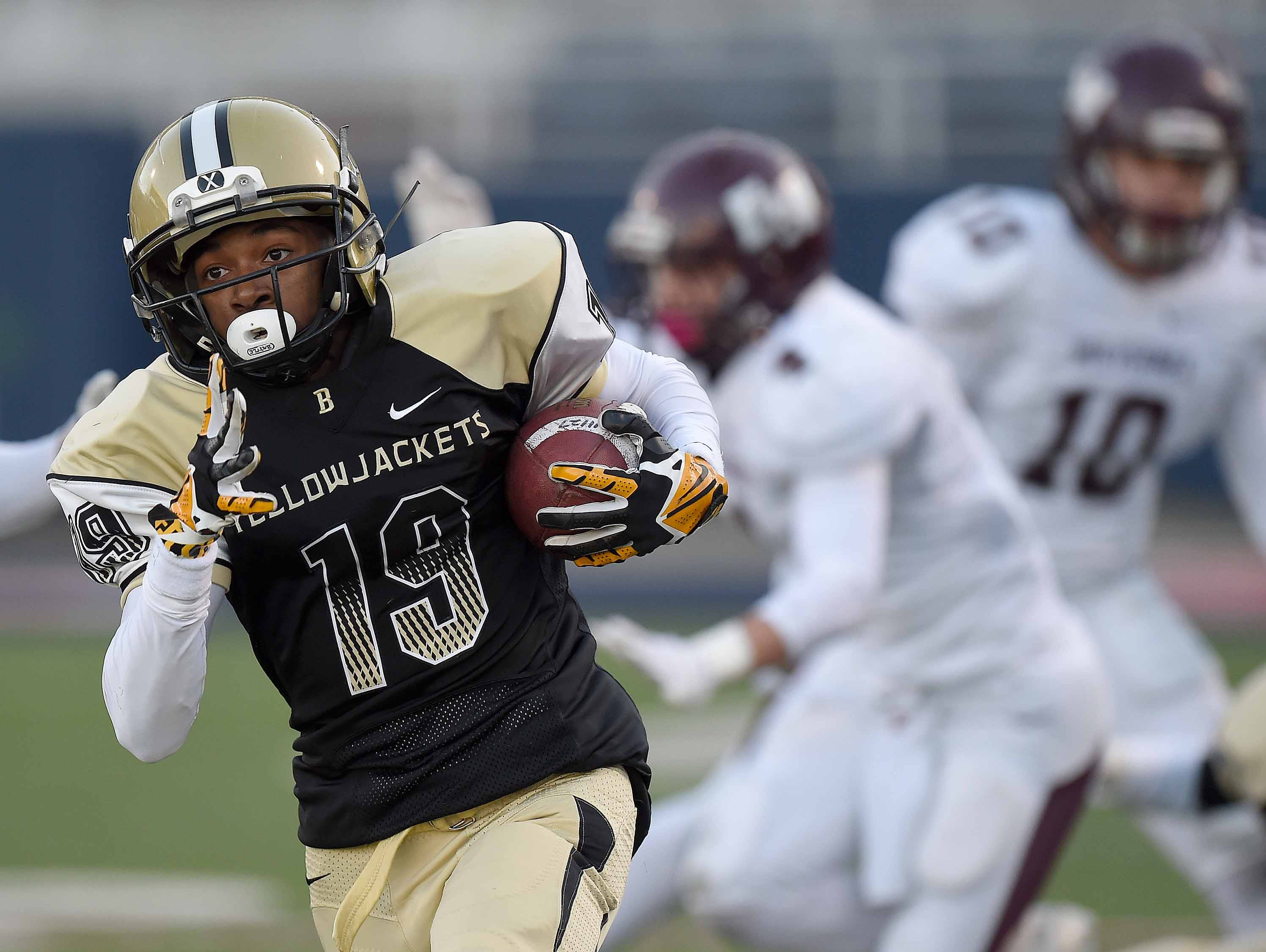 Bassfield's Sanchez Berry (19) goes 67 yards down the sideline to score against East Webster on Friday, December 4, 2015, at the MHSAA Class 2A State Football Championships in Vaught-Hemmingway Stadum on the Ole Miss Campus in Oxford, Miss.