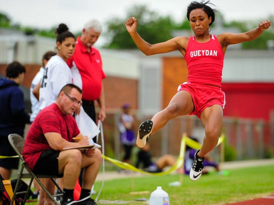 Kiera Charles competing in the Long Jump at the LCA  7-1A district track meet at Northside High School. April 19, 2016