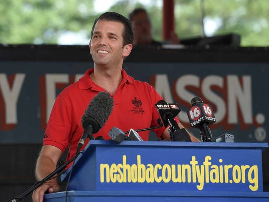 Donald Trump Jr. waits for the applause to die down before speaking at the Neshoba County Fair in 2016.