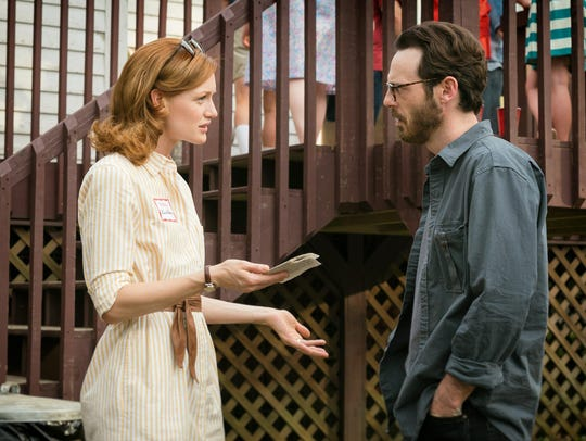 Kerry Bishe is shown here with costar Scoot McNairy,