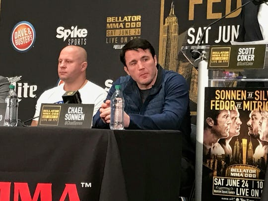 Fedor Emelianenko (left) and Chael Sonnen are two of the main eventers for Bellator NYC on June 24 at Madison Square Garden.