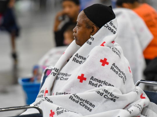 More than 2500 residents have evacuated to shelter at George R. Brown Convention Center downtown Houston, TX. Monday, Aug. 28, 2017.