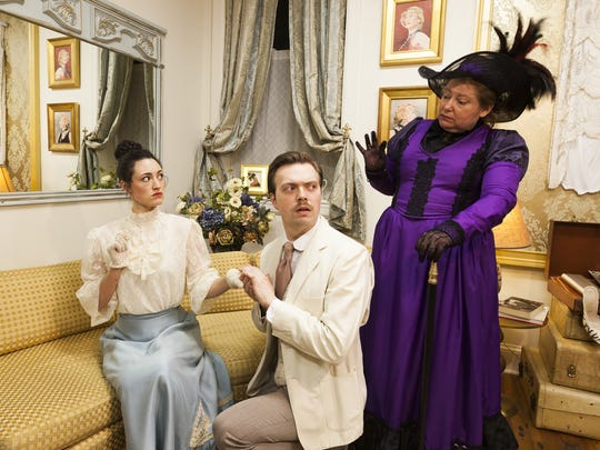 From left, Rachel Towne, James Taylor Odom and Carol Hanscom in the Cider Mill Playhouse production of 'The Importance of Being Earnest' in 2017.