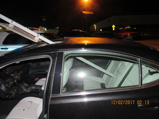 South Hackensack police pulled over this car with a mass transit sign sticking out of its roof.