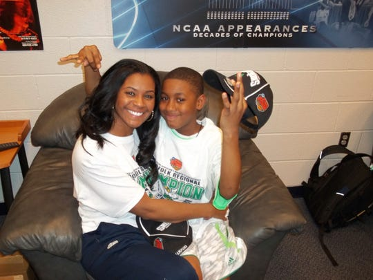 Notre Dame assistant Niele Ivey and her son, Jaden,