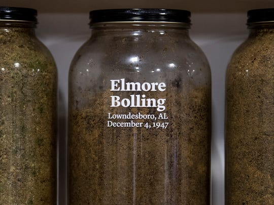 Jars containing soil from the sites of confirmed lynchings in the state of Alabama are displayed at the Equal Justice Initiative offices in Montgomery, Ala. on Friday April 13, 2018. The Jar containing the soil from the Elmore Bolling site is shown.