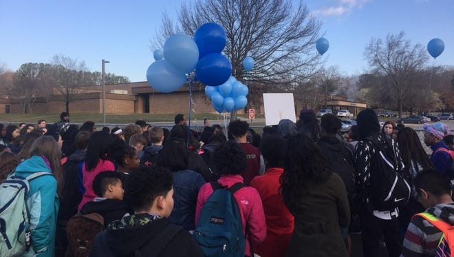 Students gathered Friday morning, March 3, to honor the life of Jajuan Latham, a Bearden Middle School student.