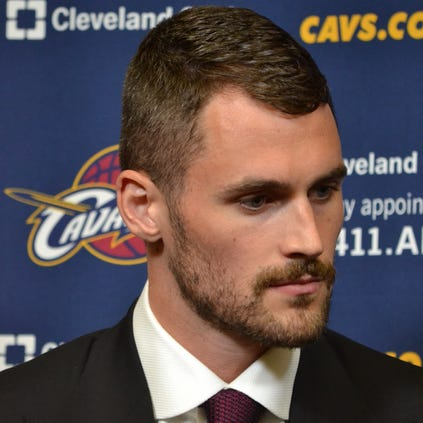 All-Star forward Kevin Love was introduced by the Cleveland Cavaliers on Tuesday afternoon.