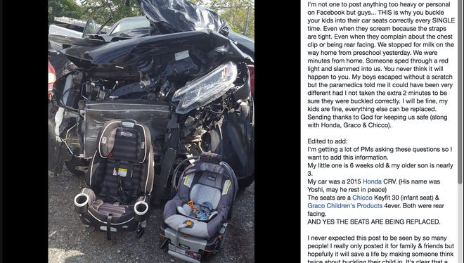 A Pennsylvania mom shared this photo on Facebook, cautioning parents to always use car seats.