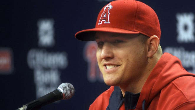 File: Millville native Mike Trout meets the media before the Los Angeles Angels game against the Philadelphia Phillies Tuesday at Citizens Bank Park.