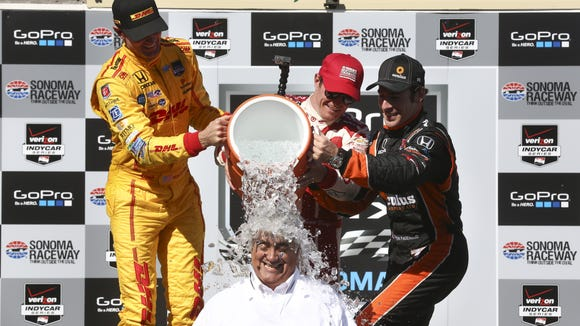 Mark Miles, who got this ice bath from IndyCar drivers