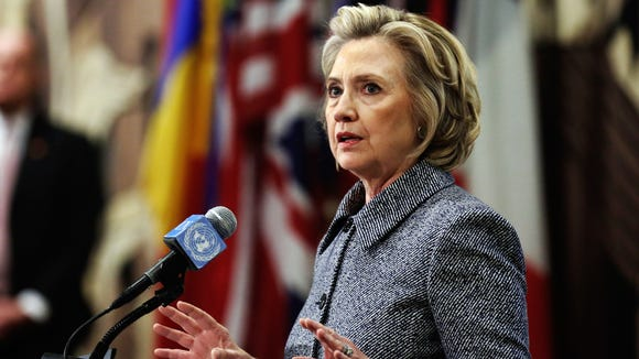 Hillary Clinton answers questions at a news conference