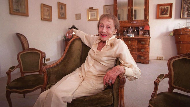 Luise Rainer poses in her central London apartment on July 29, 1999.