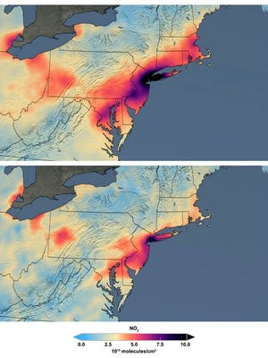 These maps made available by NASA shows the average concentration of nitrogen dioxide in March 2015-19, top, and in March 2020 as people stay home against the COVID-19 coronavirus. NO2 is a noxious gas emitted by motor vehicles, power plants, and industrial facilities.