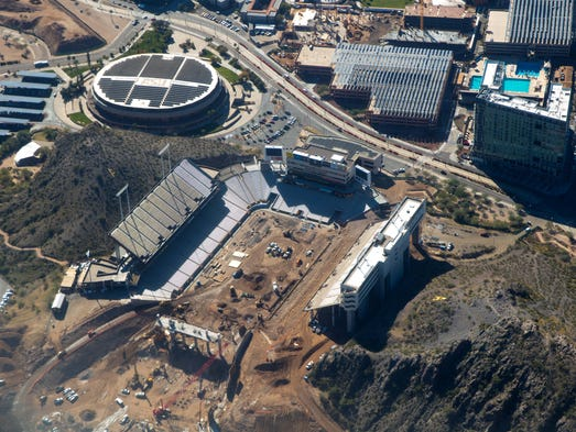Feb 17, 2016: Aerial view of construction at Sun Devil