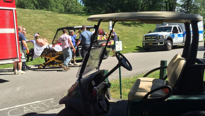 A golf cart rollover on the 5th hole of Pehquenakonck Country Club in North Salem injured two golfers on June 21, 2016. A 33-year-old man from Fairfield, Connecticut, was impaled on a guide rail. A 34-year-old Croton-on-Hudson man reported chest pain. North Salem police, Croton Falls firefighters, North Salem ambulance, and WEMS paramedics,  all responded to the club on Bloomer Road in North Salem.  The injured were transported to Danbury Hospital.