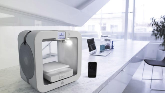 Numerous companies offer relatively inexpensive 3D printer machines that let you create an object in the comfort of your own home. The Cube printer is made by 3D Systems Inc.