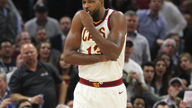 The Cleveland Cavaliers' Tristan Thompson reacts to an injury sustained by the Boston Celtics' Gordon Hayward in the first quarter on Tuesday, Oct. 17, 2017, at Quicken Loans Arena in Cleveland. (Leah Klafczynski/Akron Beacon Journal/TNS)