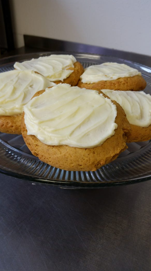 A plate of pumpkin drop cookies from The Cookie Jar