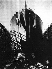 The SS Tabitha Brown launched at Oregon Shipbuilding Yards on Oct 16, 1942.
