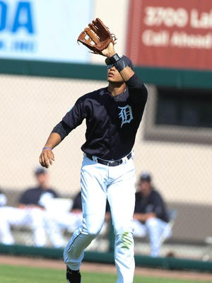 Tigers outfielder Steven Moya fields a fly ball during the Tigers' exhibition win over Florida Southern, 8-0, on Feb. 23, 2017, at Publix Field at Joker Marchant Stadium.
